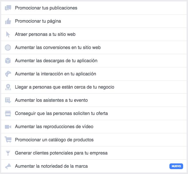 Objetivos de la publicidad en Facebook