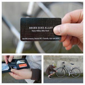 Tarjeta de visitra creativa de arreglos de bicis