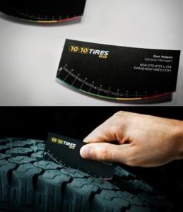 Ejemplo de tarjeta de visita original para neumáticos