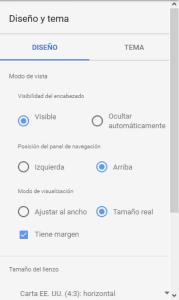 Ajustes y propiedades de Google Data Studio