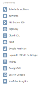 Fuentes de datos disponibles para Google Data Studio