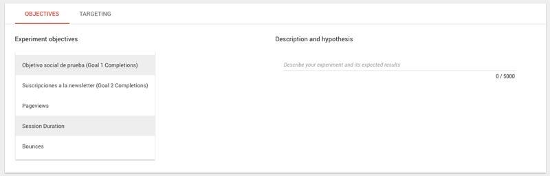 Objetivos en Google Optimize