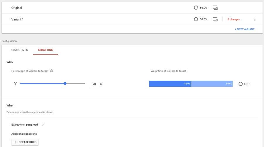 Público de Google Optimize