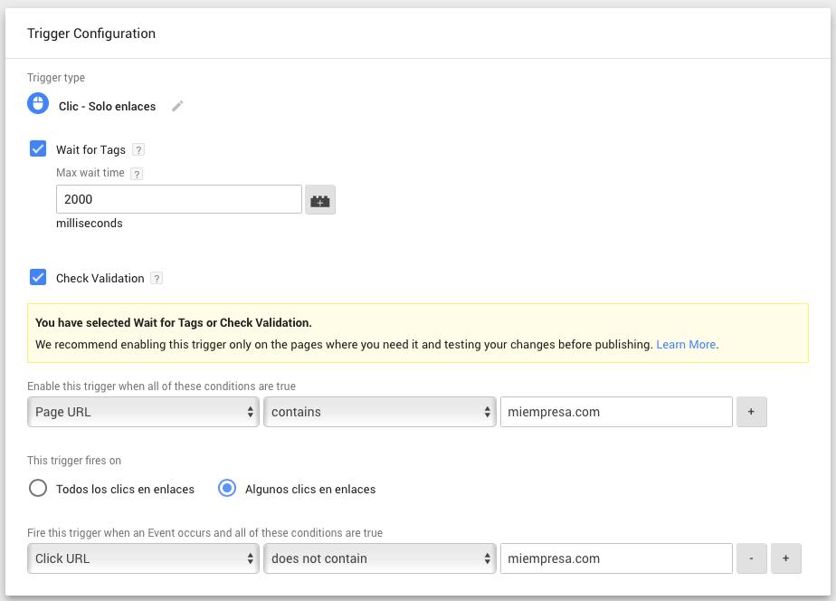 Creando un activador en google tag manager