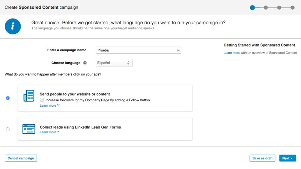 Primer paso en la creación de una campaña en linkedin ads