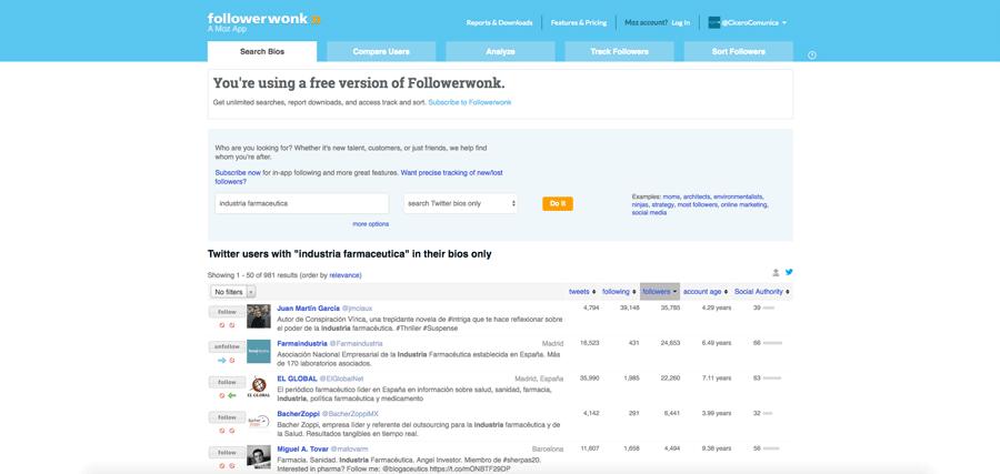 Análisis de redes e influencers de Moz