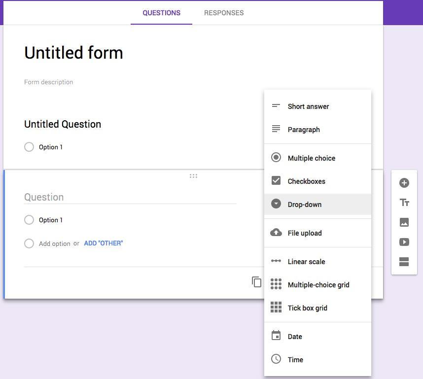 Preguntas posibles en Google Forms