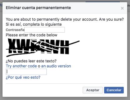 como eliminar una cuenta en facebook