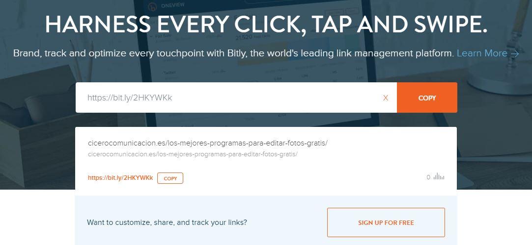 herramientas para acortar URLs